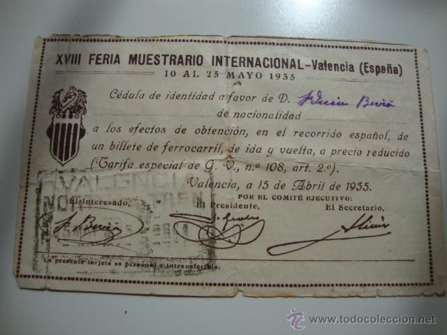 ANTIGUA CEDULA DE IDENTIDAD BILLETE TREN FERROCARRIL IDA Y VUELTA, VALENCIA MAYO 1935 (Coleccionismo - Líneas de Navegación)