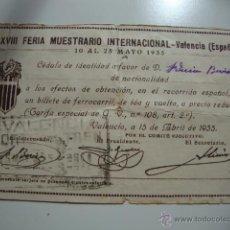 Líneas de navegación: ANTIGUA CEDULA DE IDENTIDAD BILLETE TREN FERROCARRIL IDA Y VUELTA, VALENCIA MAYO 1935. Lote 42540829