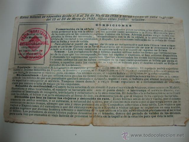 Líneas de navegación: ANTIGUA CEDULA DE IDENTIDAD BILLETE TREN FERROCARRIL IDA Y VUELTA, VALENCIA MAYO 1935 - Foto 2 - 42540829