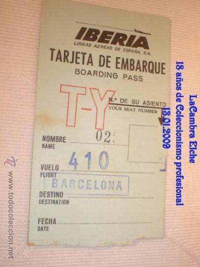 TARJETA DE IBERIA EMBARQUE, AÑOS 70 . (Coleccionismo - Líneas de Navegación)