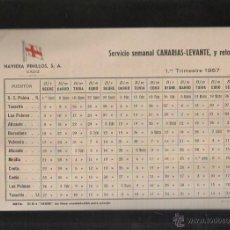 Líneas de navegación: NAVIERA PINILLOS. CADIZ. SERVICIO SEMANAL CANARIAS - LEVANTE Y RETORNO. 1957. Lote 43179028