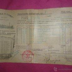 Líneas de navegación: CONOCIMIENTO DE EMBARQUE. GUERRA CIVIL. MARCHAMO DE CONTROL UGT. YBARRA. Lote 43428257