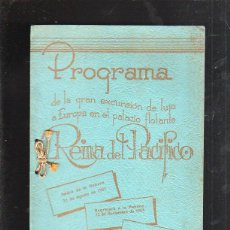 Líneas de navegación: PROGRAMA DE LA EXCURSION A EUROPA DESDE LA HABANA EN EL PALACIO FLOTANTE REINA DEL PACIFICO. 1951.. Lote 43472295