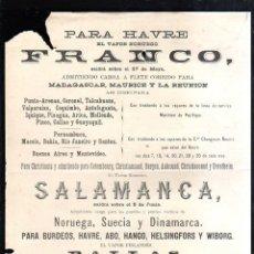 Líneas de navegación: CARTEL LINEA DE NAVEGACION. PARA HAVRE. VAPOR NORUEGO FRANCO - VAPOR NORUEGO SALAMANCA. 1897. LEER. Lote 43779171