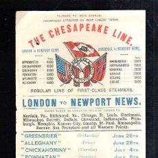 Líneas de navegación: CARTEL DE THE CHESAPEAKE LINE. SERVICIO REGULAR LONDON A NEWPORT NEWS. 1901. 14 X 21.5CM. Lote 43779472