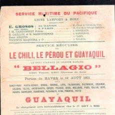 Líneas de navegación: LINEA LAMPORT & HOLT. SERVICIO MARITIMO DEL PACIFICO. VAPOR BELLAGIO. 1901. LEER. Lote 43779504