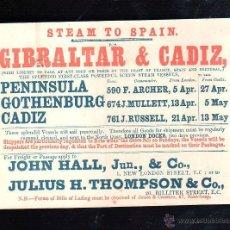 Líneas de navegación: PEQUEÑO CARTEL. VAPOR A ESPAÑA. GIBRALTAR Y CADIZ. LEER. CARTON. 15.5 X 11.5CM. 1901. Lote 43779613