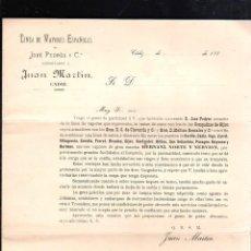 Líneas de navegación: LINEA DE VAPORES ESPAÑOLES DE JOSE PEDROS Y Cª CONSIGNADOS A JUAN MARTIN, CADIZ. CIRCULAR. 1880. Lote 43779850