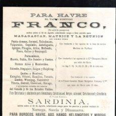 Líneas de navegación: CARTEL LINEA DE NAVEGACION. PARA HAVRE. VAPOR NORUEGO FRANCO - VAPOR NORUEGO SARDINIA. 1897. LEER. Lote 43779873