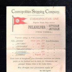 Líneas de navegación: CARTEL DE COSMOPOLITAN SHIPPING COMPANY. CARTON. VAPOR DE PHILADELPHIA A ROTTERDAM Y AMSTERDAM. 1907. Lote 43780115