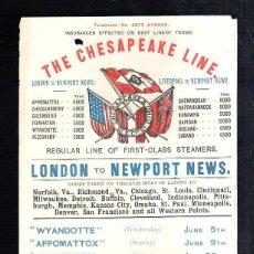 Líneas de navegación: CARTEL DE THE CHESAPEAKE LINE. SERVICIO REGULAR LONDON A NEWPORT NEWS. 1901. 14 X 21CM.. Lote 43801163