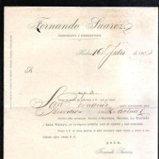 Líneas de navegación: FERNANDO SUAREZ. HUELVA, 1900. CIRCULAR. AVISO DE SALIDA DE EL VAPOR SAN FERNANDO A BURDEOS.. Lote 43801343