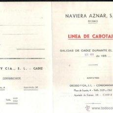 Linhas de navegação: NAVIERA AZNAR, BILBAO. LINEA DE CABOTAJE. SALIDAS DE CADIZ EN NOVIEMBRE 1955.. Lote 43801430