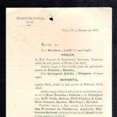 Líneas de navegación: JOAQUIN DEL CUVILLO, CADIZ. CIRCULAR. SALIDA DEL VAPOR INGLES OSSIAN Y MINERVA. 1901. Lote 43801694