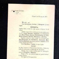 Líneas de navegación: JOAQUIN DEL CUVILLO, CADIZ. CIRCULAR. SALIDA DEL VAPOR INGLES MINERVA Y DALE. 1901. Lote 43801780