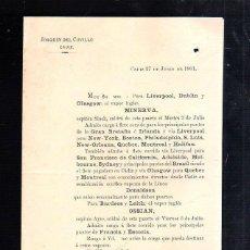 Líneas de navegación: JOAQUIN DEL CUVILLO, CADIZ. CIRCULAR. SALIDA DEL VAPOR INGLES MINERVA Y OSSIAN.. Lote 43802139