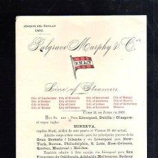 Líneas de navegación: PALGRAVE MURPHY & Cº. LINEA DE VAPORES. SALIDA DEL VAPOR MINERVA. 1901. Lote 43802396