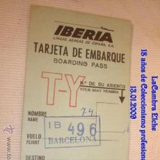 Líneas de navegación: TARJETA DE IBERIA EMBARQUE, AÑOS 70 .. Lote 11533276