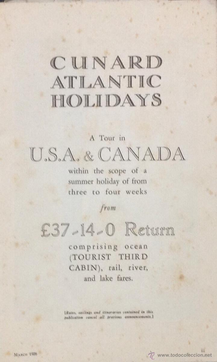 Líneas de navegación: CUNARD ATLANTIC HOLIDAYS. TOUR USA & CANADA. 1926. - Foto 2 - 44138464