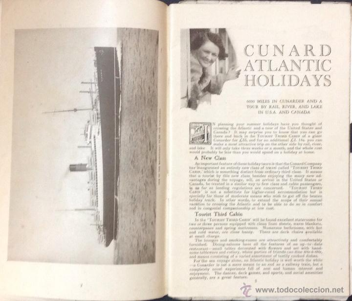 Líneas de navegación: CUNARD ATLANTIC HOLIDAYS. TOUR USA & CANADA. 1926. - Foto 3 - 44138464