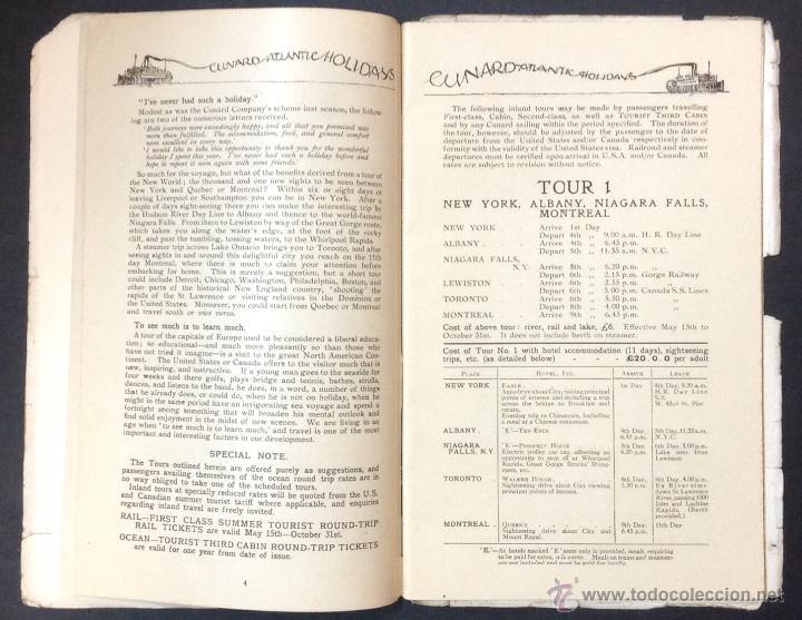 Líneas de navegación: CUNARD ATLANTIC HOLIDAYS. TOUR USA & CANADA. 1926. - Foto 4 - 44138464
