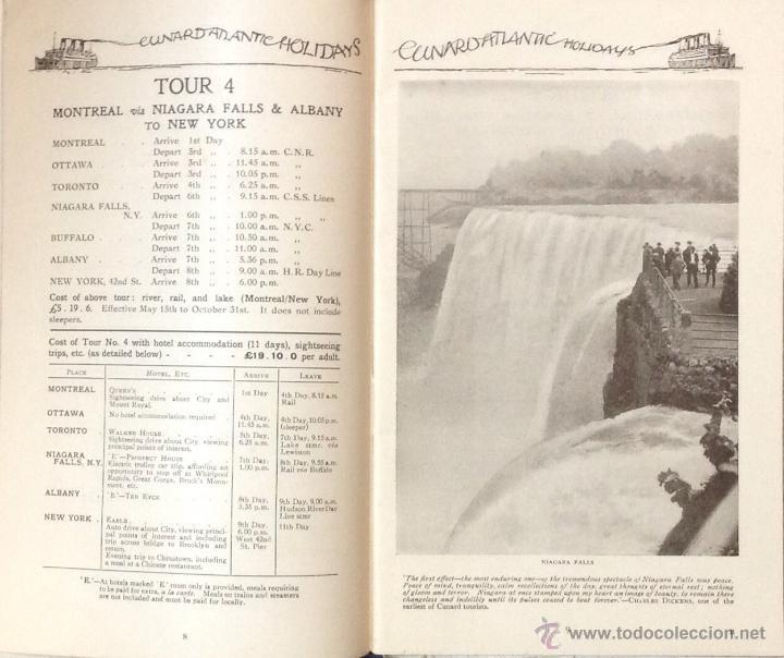 Líneas de navegación: CUNARD ATLANTIC HOLIDAYS. TOUR USA & CANADA. 1926. - Foto 5 - 44138464
