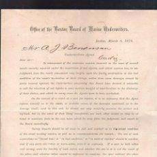 Líneas de navegación: OFFICE OF THE BOSTON BOARD OF MARINE UNDERWRITERS. 1878. CIRCULAR. Lote 44383783