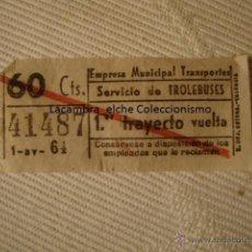Líneas de navegación: ANTIGUO BILLETE EMPRESA MUNICIPAL TRANSPORTE TROLEBUS TROLEBUSES 60CTS VALENCIA BUEN ESTADO LOTA125. Lote 45203243