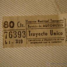 Líneas de navegación: ANTIGUO BILLETE EMPRESA MUNICIPAL TRANSPORTE AUTOBUS 80CTS VALENCIA MUY BUEN ESTADO LOTA125. Lote 45203462