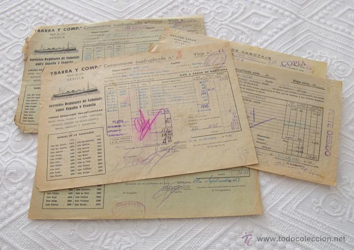 LOTE Nº 7 DE 5 CONOCIMIENTOS DE EMBARQUE NAVIERA YBARRA Y AZNAR 1939 (Coleccionismo - Líneas de Navegación)