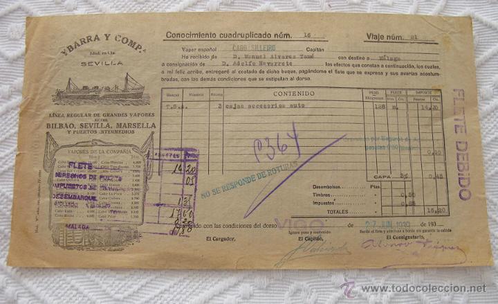 Líneas de navegación: LOTE Nº 7 DE 5 CONOCIMIENTOS DE EMBARQUE NAVIERA YBARRA Y AZNAR 1939 - Foto 3 - 45913712