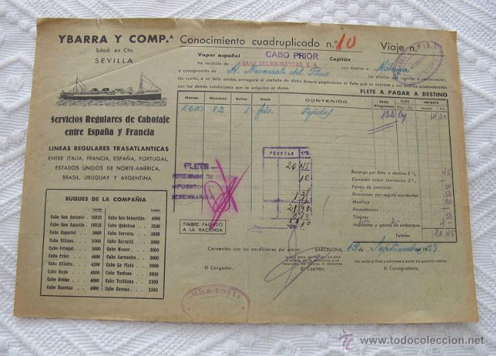 Líneas de navegación: LOTE Nº 7 DE 5 CONOCIMIENTOS DE EMBARQUE NAVIERA YBARRA Y AZNAR 1939 - Foto 5 - 45913712