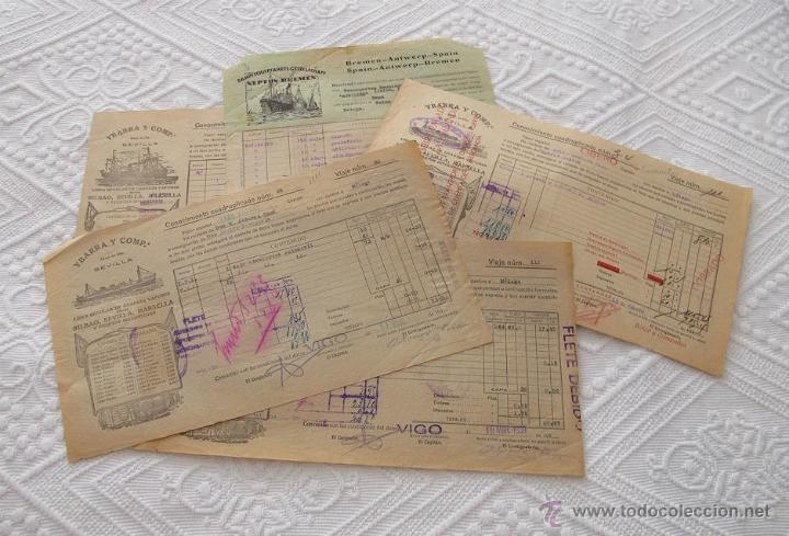 LOTE Nº 6 DE 5 CONOCIMIENTOS DE EMBARQUE NAVIERAS YBARRA Y NEPTUM-BREMEN (Coleccionismo - Líneas de Navegación)
