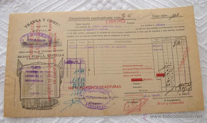 Líneas de navegación: LOTE Nº 6 DE 5 CONOCIMIENTOS DE EMBARQUE NAVIERAS YBARRA Y NEPTUM-BREMEN - Foto 2 - 45913860