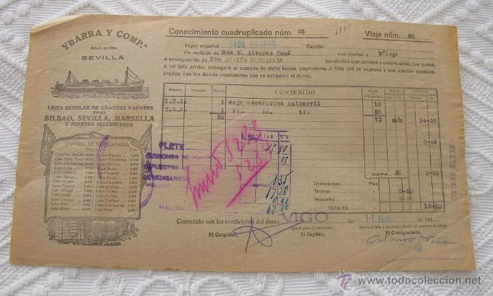 Líneas de navegación: LOTE Nº 6 DE 5 CONOCIMIENTOS DE EMBARQUE NAVIERAS YBARRA Y NEPTUM-BREMEN - Foto 3 - 45913860