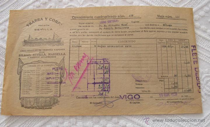 Líneas de navegación: LOTE Nº 6 DE 5 CONOCIMIENTOS DE EMBARQUE NAVIERAS YBARRA Y NEPTUM-BREMEN - Foto 4 - 45913860