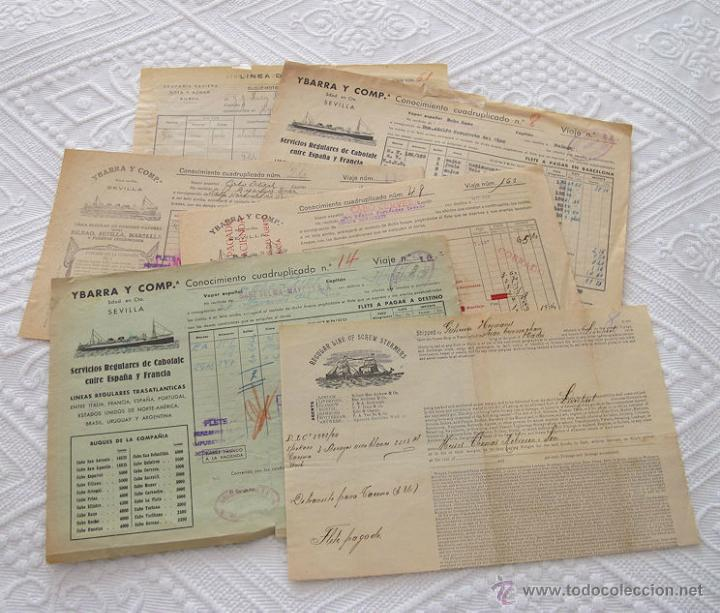 LOTE Nº 5 DE 6 CONOCIMIENTOS DE EMBARQUE NAVIERAS YBARRA Y STEAMERS 1909 Y 1939 (Coleccionismo - Líneas de Navegación)