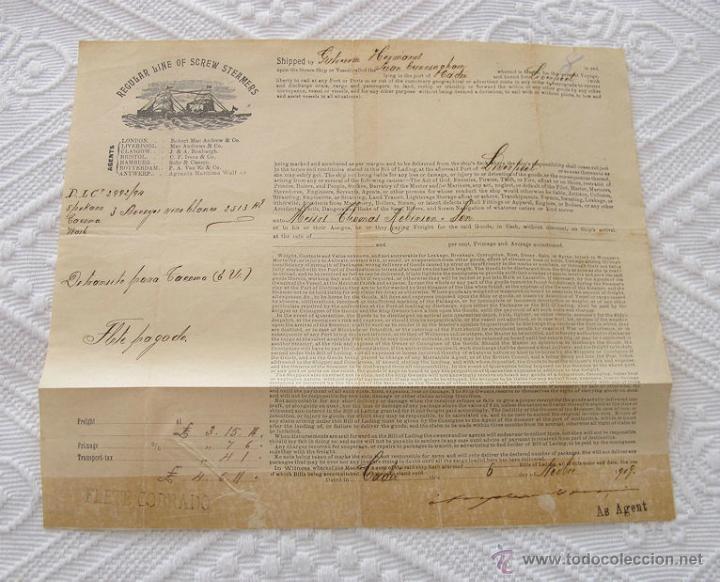 Líneas de navegación: LOTE Nº 5 DE 6 CONOCIMIENTOS DE EMBARQUE NAVIERAS YBARRA Y STEAMERS 1909 Y 1939 - Foto 2 - 45914012