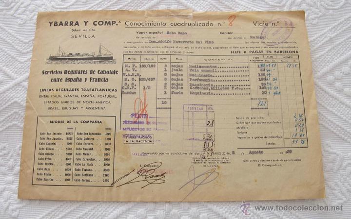 Líneas de navegación: LOTE Nº 5 DE 6 CONOCIMIENTOS DE EMBARQUE NAVIERAS YBARRA Y STEAMERS 1909 Y 1939 - Foto 3 - 45914012