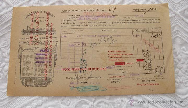 Líneas de navegación: LOTE Nº 5 DE 6 CONOCIMIENTOS DE EMBARQUE NAVIERAS YBARRA Y STEAMERS 1909 Y 1939 - Foto 4 - 45914012