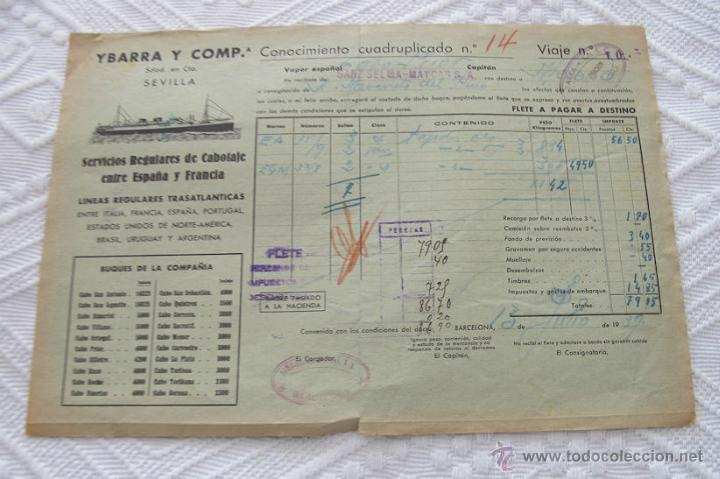 Líneas de navegación: LOTE Nº 5 DE 6 CONOCIMIENTOS DE EMBARQUE NAVIERAS YBARRA Y STEAMERS 1909 Y 1939 - Foto 5 - 45914012