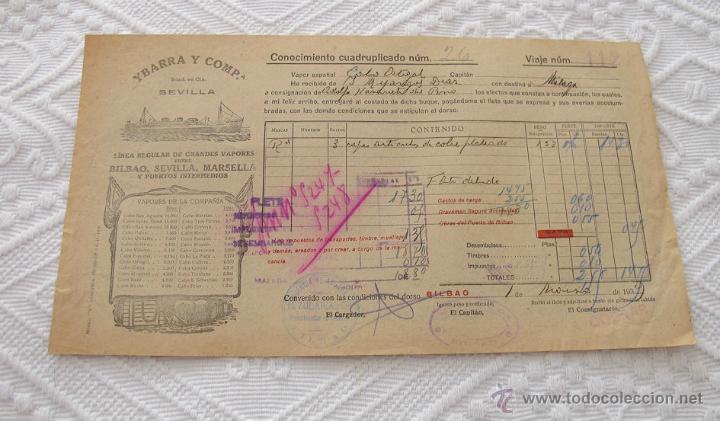 Líneas de navegación: LOTE Nº 5 DE 6 CONOCIMIENTOS DE EMBARQUE NAVIERAS YBARRA Y STEAMERS 1909 Y 1939 - Foto 6 - 45914012