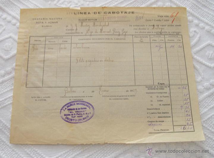 Líneas de navegación: LOTE Nº 5 DE 6 CONOCIMIENTOS DE EMBARQUE NAVIERAS YBARRA Y STEAMERS 1909 Y 1939 - Foto 7 - 45914012