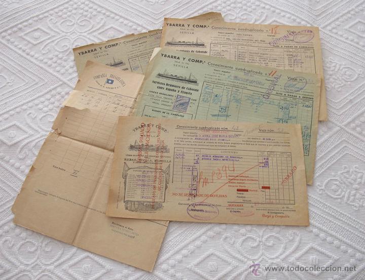 LOTE Nº 4 DE 5 CONOCIMIENTOS DE EMBARQUE NAVIERAS YBARRA Y TRASATLANTICA 1890 Y 1939 (Coleccionismo - Líneas de Navegación)
