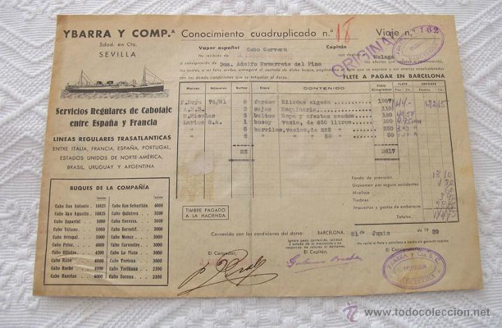 Líneas de navegación: LOTE Nº 4 DE 5 CONOCIMIENTOS DE EMBARQUE NAVIERAS YBARRA Y TRASATLANTICA 1890 Y 1939 - Foto 2 - 45914168