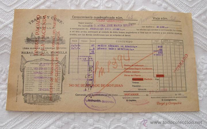 Líneas de navegación: LOTE Nº 4 DE 5 CONOCIMIENTOS DE EMBARQUE NAVIERAS YBARRA Y TRASATLANTICA 1890 Y 1939 - Foto 3 - 45914168