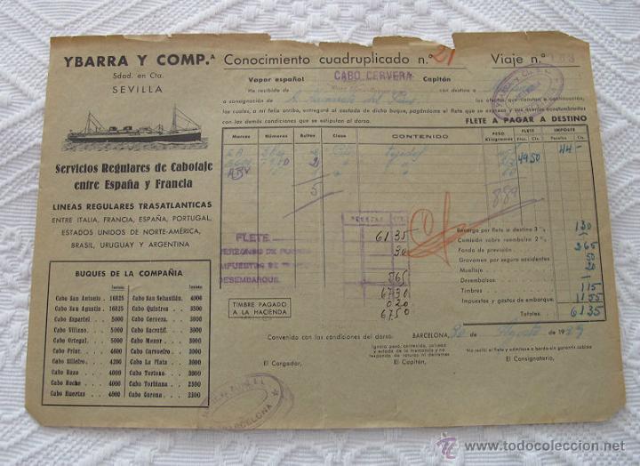 Líneas de navegación: LOTE Nº 4 DE 5 CONOCIMIENTOS DE EMBARQUE NAVIERAS YBARRA Y TRASATLANTICA 1890 Y 1939 - Foto 4 - 45914168