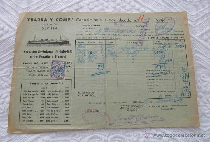 Líneas de navegación: LOTE Nº 4 DE 5 CONOCIMIENTOS DE EMBARQUE NAVIERAS YBARRA Y TRASATLANTICA 1890 Y 1939 - Foto 5 - 45914168