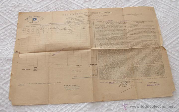 Líneas de navegación: LOTE Nº 4 DE 5 CONOCIMIENTOS DE EMBARQUE NAVIERAS YBARRA Y TRASATLANTICA 1890 Y 1939 - Foto 6 - 45914168