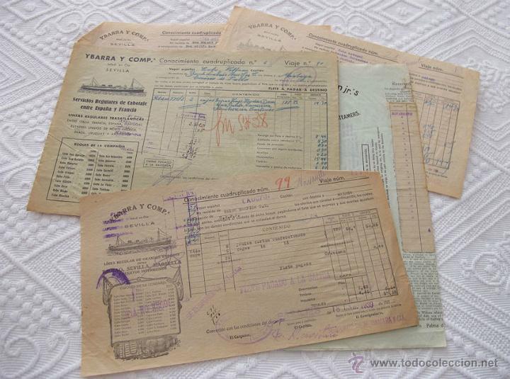 LOTE Nº 3 DE 5 CONOCIMIENTOS DE EMBARQUE NAVIERA YBARRA Y SLOMAN (Coleccionismo - Líneas de Navegación)